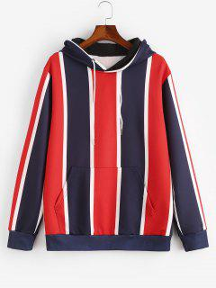 Colorblock Stripes Kangaroo Pocket Hoodie - Ruby Red 2xl