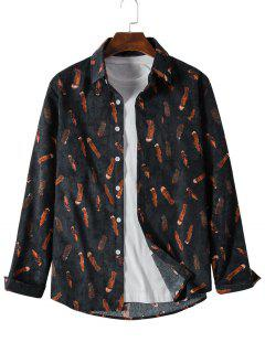 Feather Print Button Up Pocket Corduroy Shirt - Black L