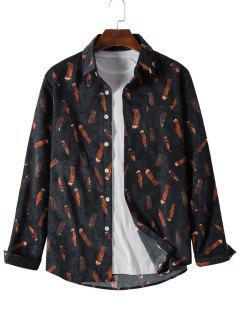 Feather Print Button Up Pocket Corduroy Shirt - Black Xl