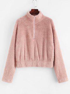 ZAFUL Half Zip Faux Fur Drop Shoulder Sweatshirt - Light Pink S