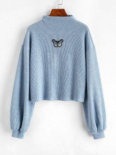 ZAFUL Mock Neck Butterfly Patched Ribbed Sweatshirt - Blue M
