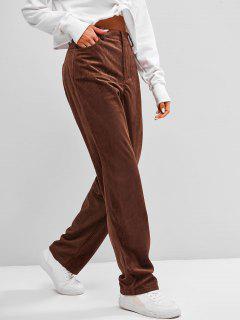 ZAFUL High Waisted Corduroy Pants - Deep Coffee S