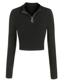 ZAFUL Camiseta Corta Con Media Cremallera - Negro S