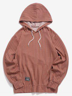 Stripes Kangaroo Pocket Casual Hoodie - Coffee S
