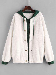 ZAFUL Hooded Bicolor Drop Shoulder Faux Fur Coat - White L