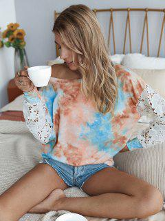 Tie Dye Crochet Lace Sleeve Sweatshirt - Multi S