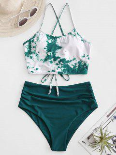 ZAFUL Tie Dye Lace-up Ruched Tankini Costume De Baie - Deep Green S