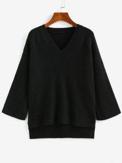 Suéter Alto-Baixo Com Manga Raglan - Preto L