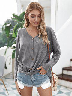 Mock Button Wide Rib Twist Batwing Knitwear - Gray L