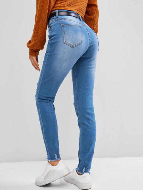 affordable Frayed Distressed Mid Rise Skinny Jeans - BLUE GRAY M Mobile