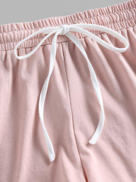 shop ZAFUL Track Drawstring Dolphin Shorts - PINK S Mobile