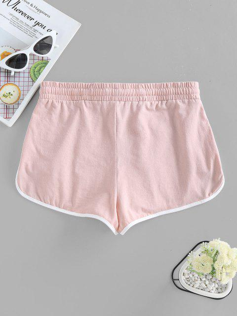 outfit ZAFUL Track Drawstring Dolphin Shorts - PINK L Mobile
