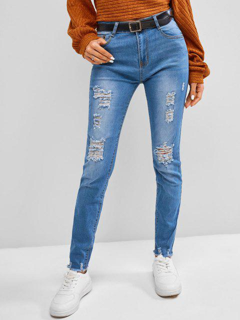 fancy Frayed Distressed Mid Rise Skinny Jeans - BLUE GRAY L Mobile