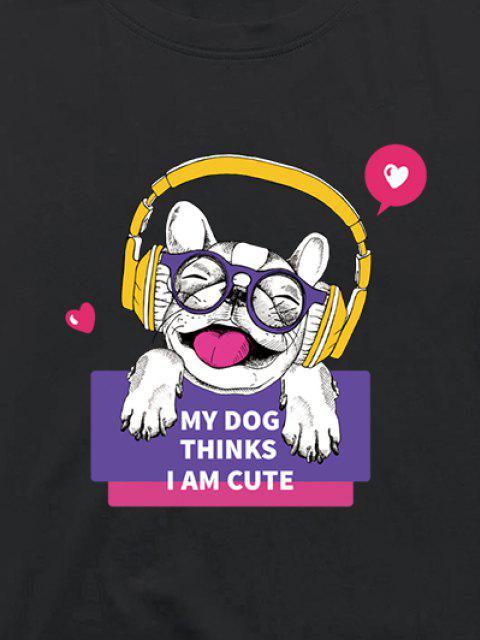Hörende Musik Hund Lustige Grafik Kurzarm T-Shirt - Hellgrau XL Mobile
