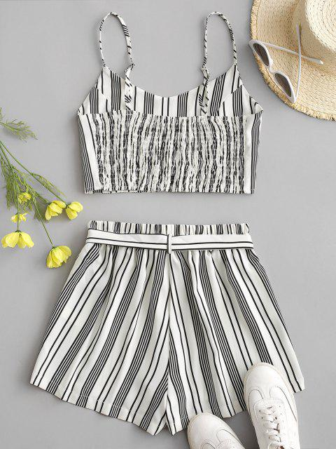 women Striped Smocked Co Ord Set - WHITE XL Mobile