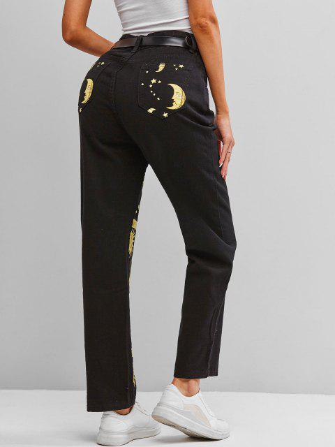 Jeans Pitillo de Cintura Alta con Estampado de Luna y Sol - Negro M Mobile