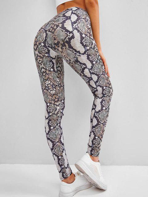 women's Snakeskin Skinny Leggings - COFFEE ONE SIZE Mobile