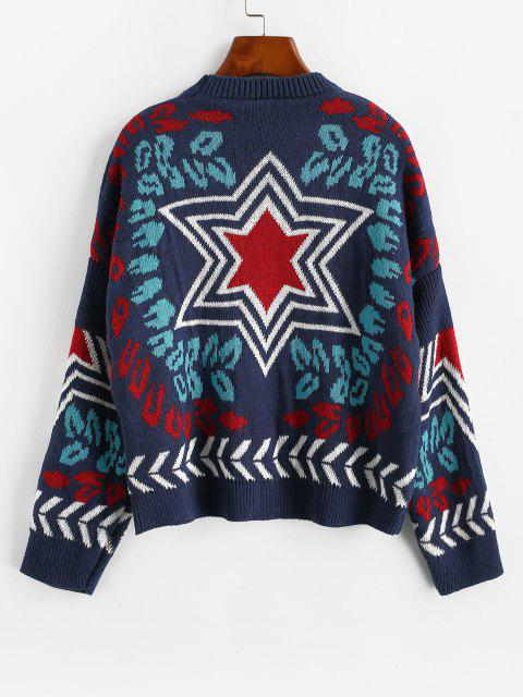 ladies Loose Star Graphic Crew Neck Sweater - DEEP BLUE ONE SIZE Mobile