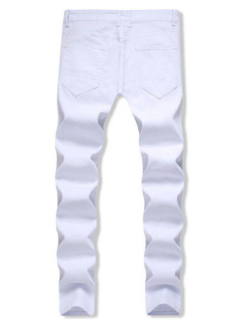 latest Distressed Zippers Ripped Long Jeans - WHITE 32 Mobile