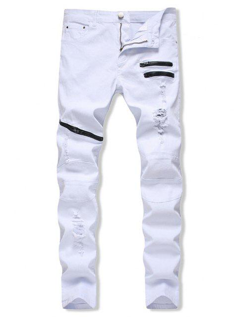fashion Distressed Zippers Ripped Long Jeans - WHITE 40 Mobile