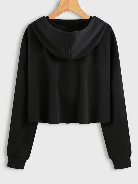Drawstring Butterfly Graphic Raw Cut Hoodie - أسود M Mobile
