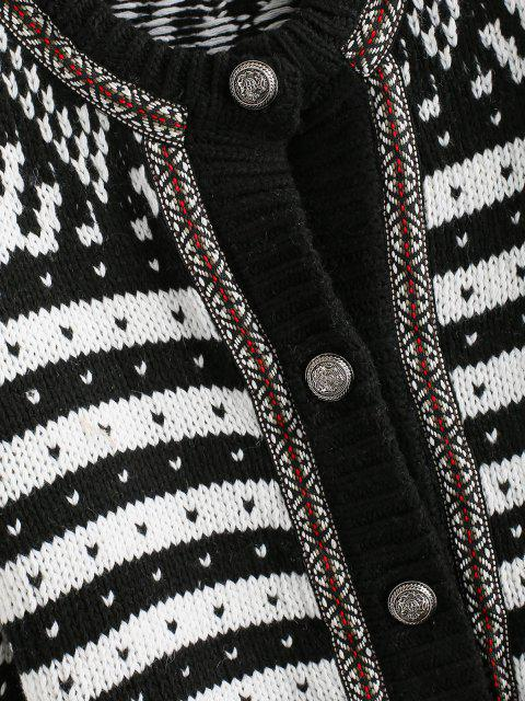 chic Ethnic Graphic Thick Cardigan - BLACK ONE SIZE Mobile