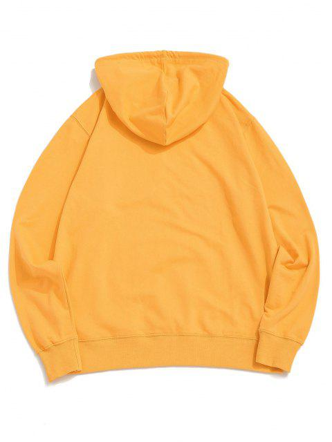 online Cartoon Bee Graphic Pouch Pocket Pullover Hoodie - YELLOW S Mobile