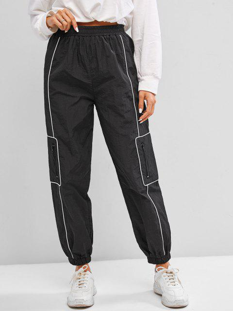 hot High Waisted Zippered Pockets Cargo Pants - BLACK L Mobile