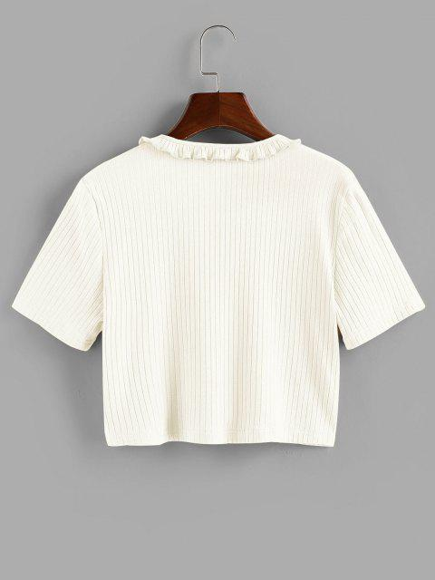 best ZAFUL Ruffle Front Tie Ribbed Crop Tee - WHITE M Mobile