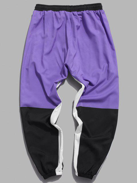 online Colorblocking Chinese Character Print Pants - PURPLE M Mobile