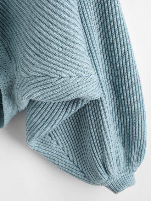 V Ausschnitt Pullover mit Flügelärmeln und Bindeband - Hellblau Eine Größe Mobile