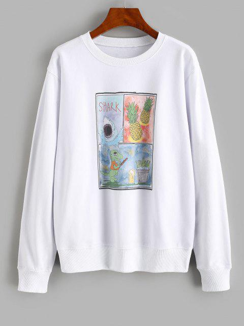 unique Pineapple Shark Dinosaur Print Loose Sweatshirt - WHITE M Mobile