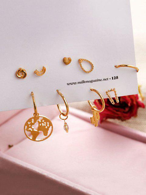 trendy 9Pcs Map Cactus Stud Earrings Set - GOLDEN  Mobile