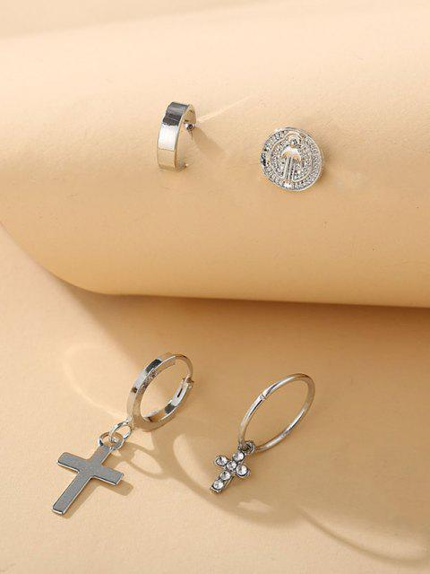 fashion 4Pcs Cross Rhinestone Earrings Set - SILVER  Mobile