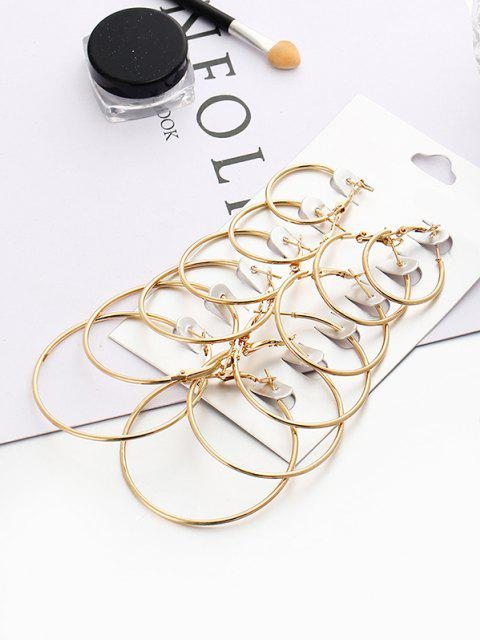 chic 6 Pairs Exaggerated Hoop Earrings Set - GOLDEN  Mobile