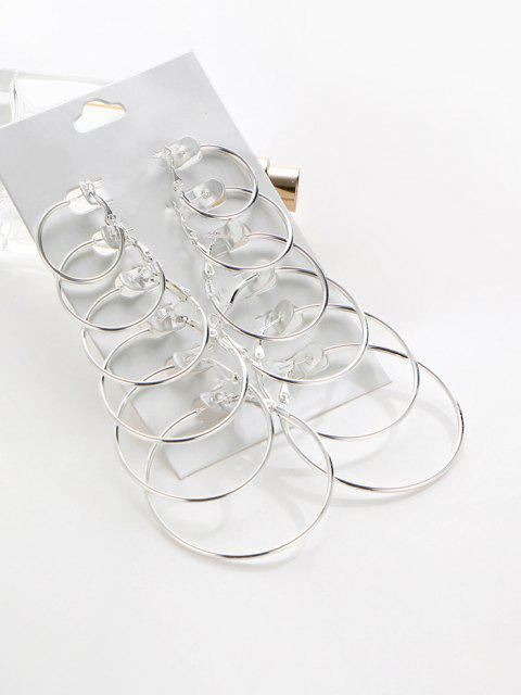 fancy 6 Pairs Exaggerated Hoop Earrings Set - SILVER  Mobile