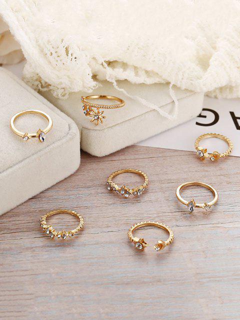 affordable 7Pcs Star Moon Rhinestone Ring Set - GOLDEN  Mobile