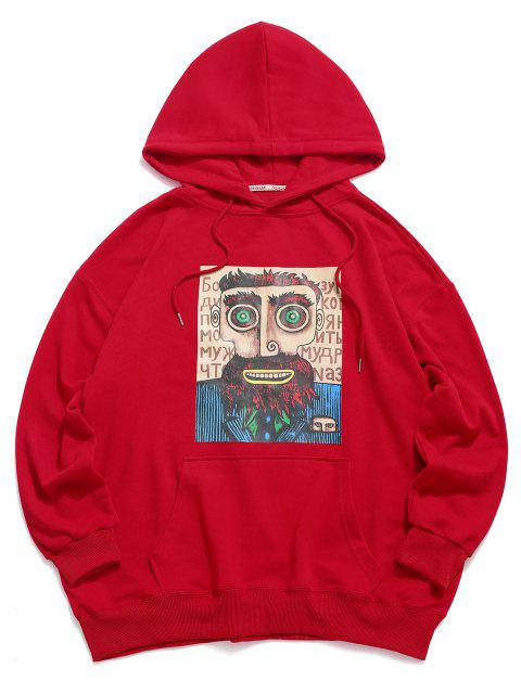 lady Cartoon Man Graphic Drop Shoulder Drawstring Hoodie - RED 2XL Mobile