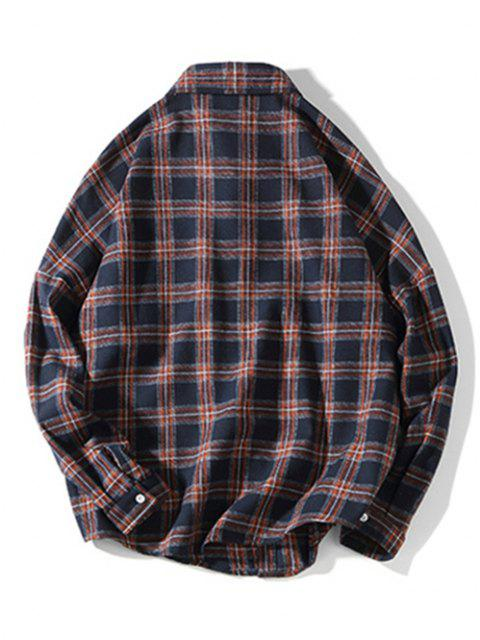 チェック柄の胸ポケット長袖シャツ - カデブルー XL Mobile