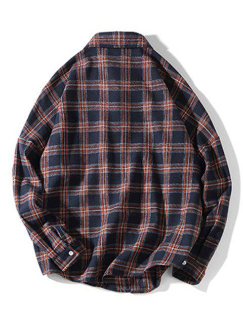 Camicia a Quadretti con Tasca Sul Petto a Maniche Lunghe - Cadetblue 2XL Mobile