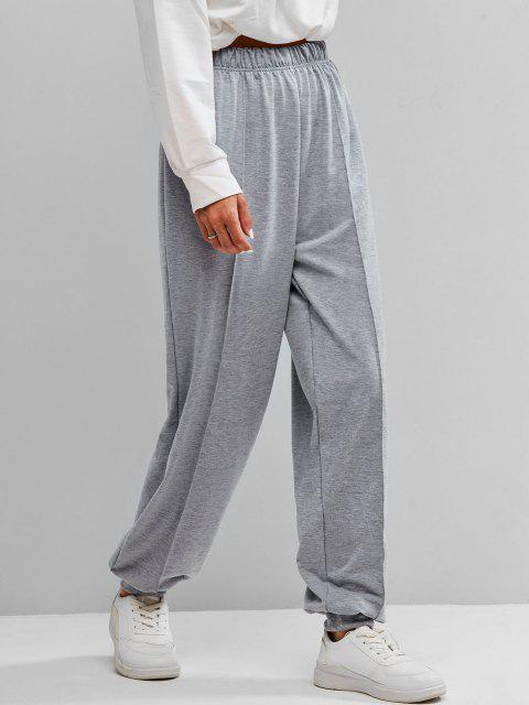 sale Seam Detail High Rise Pull On Jogger Pants - GRAY L Mobile
