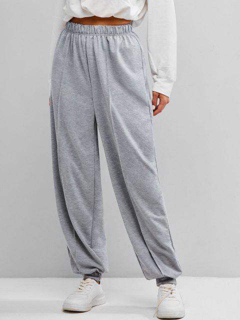best Seam Detail High Rise Pull On Jogger Pants - GRAY S Mobile