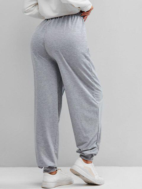 online Seam Detail High Rise Pull On Jogger Pants - GRAY M Mobile