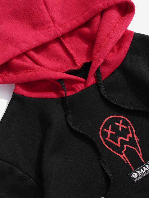 Drip Gesicht Muster Känguru Taschen Vlies Hoodie - Schwarz 2XL Mobile