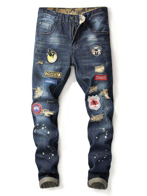 buy Distressed Embroidery Applique Straight Jeans - DEEP BLUE 36 Mobile