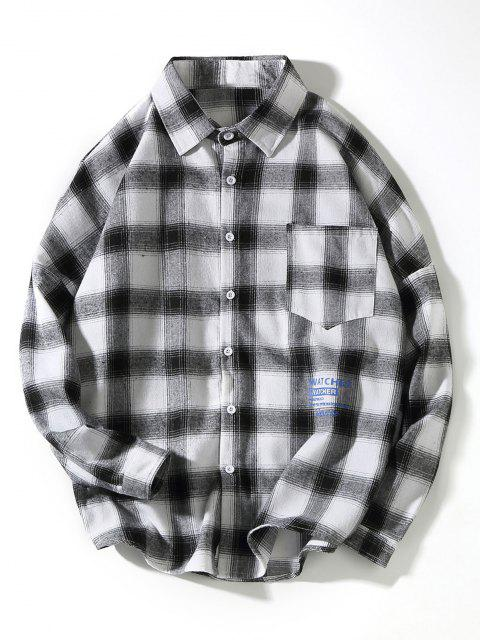 buy Plaid Collect Letter Print Pocket Long Sleeve Shirt - WHITE L Mobile