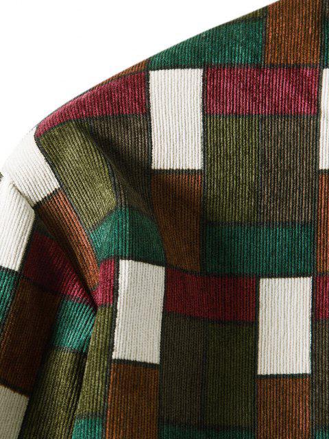 women Colorblock Grid Pattern Pocket Corduroy Shirt - BROWN 3XL Mobile