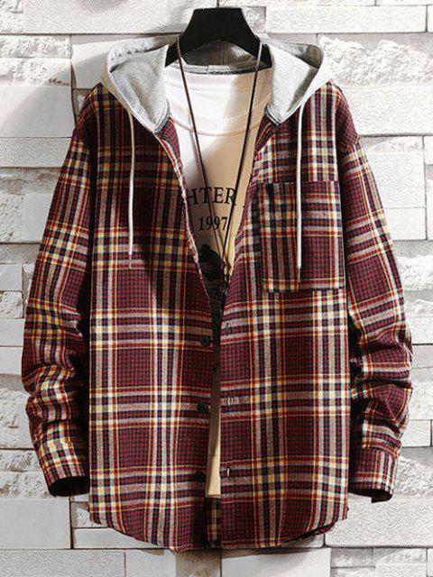 Hooded Plaid Print Pocket Shirt - نبيذ احمر M Mobile