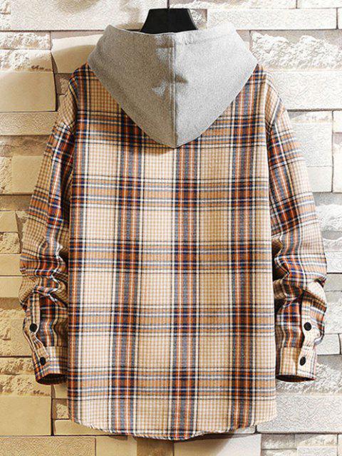 shop Hooded Plaid Print Pocket Shirt - APRICOT L Mobile