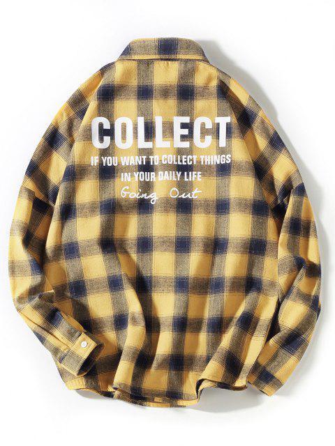 Chemise à Carreaux Lettre Imprimée avec Poche à Manches Longues - Jaune 2XL Mobile